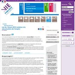 Loi du 14/06/2013 sécurisation de l'emploi
