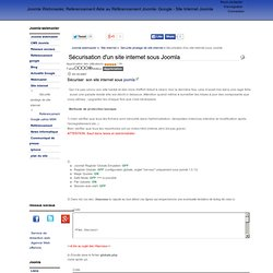 Sécurisation d'un site internet sous Joomla