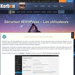 Sécuriser Wordpress - Les utilisateurs