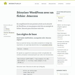 Sécuriser Wordpress avec un fichier .htaccess
