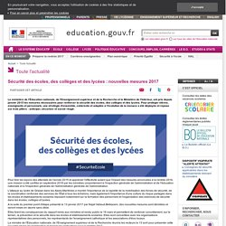 Sécurité des écoles, des collèges et des lycées : nouvelles mesures 2017