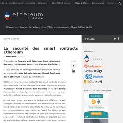 La sécurité des smart contracts Ethereum
