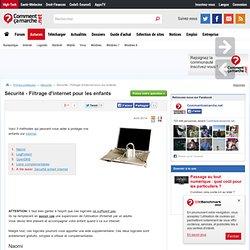 Sécurité - Filtrage d'internet pour les enfants