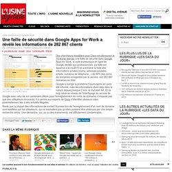 Une faille de sécurité dans Google Apps for Work a révélé les informations de 282 867 clients