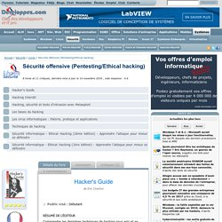 Livres Sécurité : Sécurité offensive (Pentesting/Ethical hacking)
