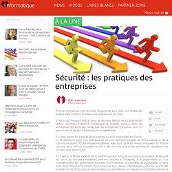 Sécurité : les pratiques des entreprises