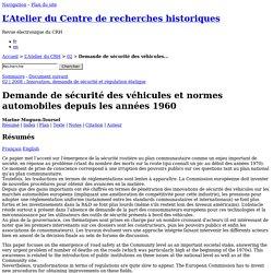 Demande de sécurité des véhicules et normes automobiles depuis les années 1960