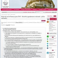 Projet de loi de finances pour 2015 : Sécurités (gendarmerie nationale ; police nationale)