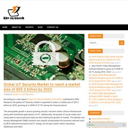 Global IoT Security Market to reach a market size of $29.2 billion by 2022 – KBV Research News