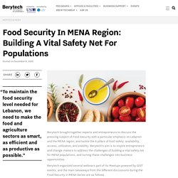 Food Security in MENA Region: building a vital safety net for populations