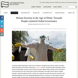 Human Security in the Age of Ebola: Towards People-centered Global Governance