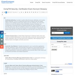CompTIA Security+ Certification Exam Glossary