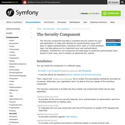 The Security Component (The Symfony Components)