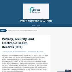 Privacy, Security, and Electronic Health Records (EHR)