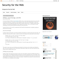 Security for the Web: HTML5, Local Storage, and XSS