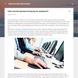 Cyber security important training tips for employees!!!
