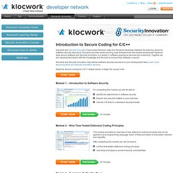 Security Innovation Courses | Klocwork Developer Network
