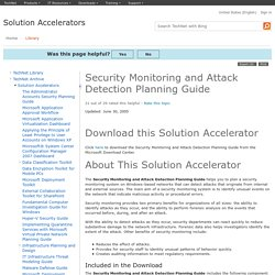 Security Monitoring and Attack Detection Planning Guide