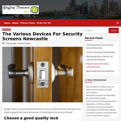 The Various Devices For Security Screens Newcastle - Geoffrey Dromard