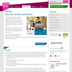 Security service personnel Job Information