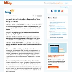 Urgent Security Update Regarding Your Bitly Account