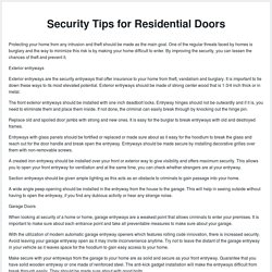 Security Tips for Residential Doors