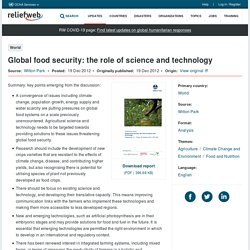 Global food security: the role of science and technology