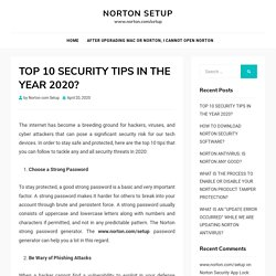 TOP 10 SECURITY TIPS IN THE YEAR 2020? - Norton Setup