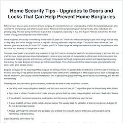 Home Security Tips - Upgrades to Doors and Locks That Can Help Prevent Home Burglaries
