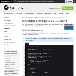 "SecurityBundle Configuration (""security"") (The Symfony Reference)"