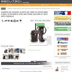 Secutec.fr Caméra de chasse alerte HD 1080P 3G envoi MMS e-mail IR invisible avec chargeur solaire et box anti-vandale