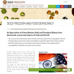 Seed Freedom and Food Democracy