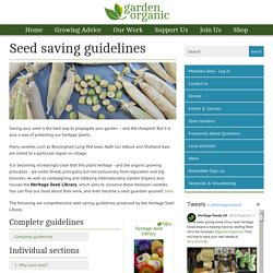 Seed saving guidelines