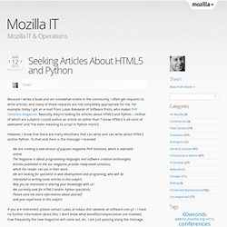 Seeking Articles About HTML5 and Python