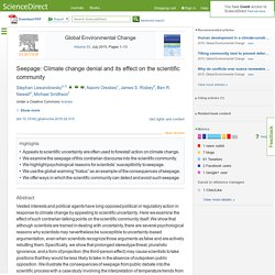 Seepage: Climate change denial and its effect on the scientific community