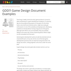 SEGAN: GDD?! Game Design Document Examples