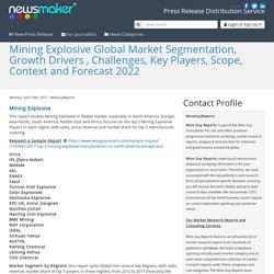 Mining Explosive Global Market Segmentation, Growth Drivers , Challenges, Key Players, Scope, Context and Forecast 2022