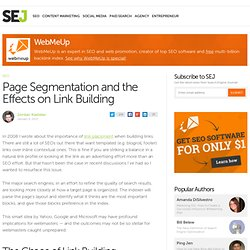 Visual Page Segmentation and the Effects on Linkbuilding