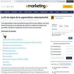 La fin du règne de la segmentation valeur/potentiel - Les fondamentaux du marketing - Relationnel