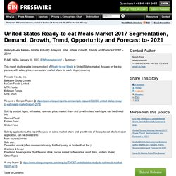 United States Ready-to-eat Meals Market 2017 Segmentation, Demand, Growth, Trend, Opportunity and Forecast to- 2021