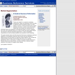 Market Segmentation (Business Reference Services, Library of Congress)