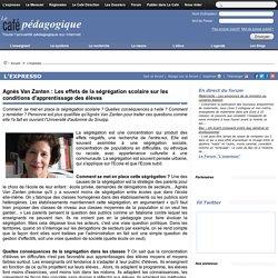 Agnès Van Zanten : Les effets de la ségrégation scolaire sur les conditions d'apprentissage des élèves