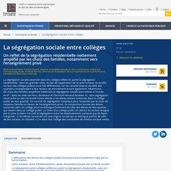 La ségrégation sociale entre collèges: un reflet de la ségrégation résidentielle nettement amplifié par les choix des familles, notamment vers l'enseignement privé - Insee Analyses - 40