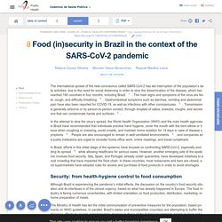 Cad. Saúde Pública 36 (4) 06 Apr 2020 Food (in)security in Brazil in the context of the SARS-CoV-2 pandemic