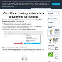 Cisco Webex Meetings - Mejora de la seguridad de las reuniones
