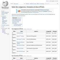 Liste des seigneurs, vicomtes et ducs d'Uzès