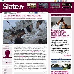Le séisme d'Haïti n'a rien d'étonnant