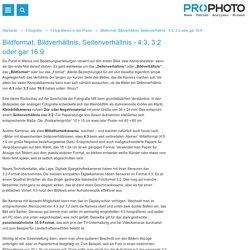 Bildformat, Bildverhältnis, Seitenverhältnis - 4:3, 3:2 oder gar 16:9 - Fotografieren in der Praxis - Prophoto Online