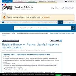 Séjour du stagiaire étranger en France