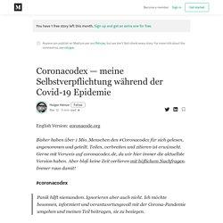 Coronacodex — meine Selbstverpflichtung während der Covid-19 Epidemie